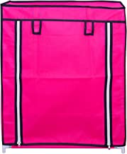 RMA HANDICRAFTS Shoe Rack with Cover 4 Layer (Pink)