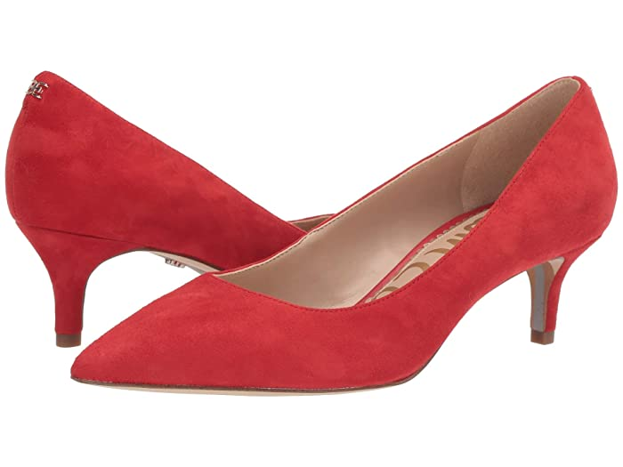 Rockabilly Shoes- Heels, Pumps, Boots, Flats Sam Edelman Dori Lipstick Red Suede Leather Womens Shoes $84.99 AT vintagedancer.com