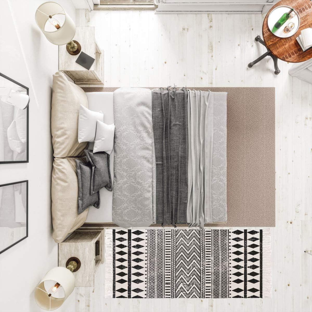 Fu/ßmatte L/äufer f/ür Schlafzimmer Baumwollteppiche mit Quaste Aonewoe Baumwollteppich maschinenwaschbar Wohnzimmer 70 x 180 cm handgewebte Baumwolle Waschk/üche f/ür den Innenbereich