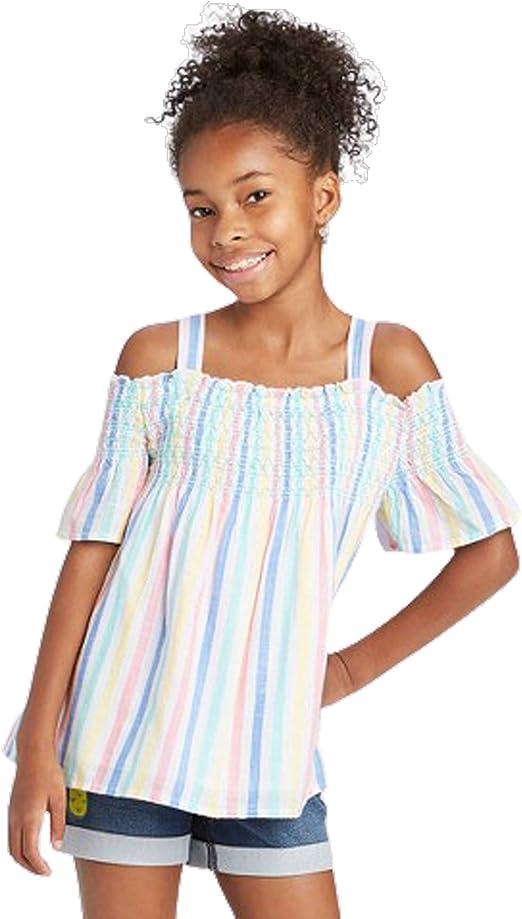 Cat /& Jack Girls Smocked Cold Shoulder Woven Top Pastel Colors