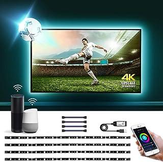 LE 2M Luces de Tira LED WiFi(Solo 2,4 GHz), Control de Voz y Control de APP, 16 Millones RGB, DIY Modos de luz, Compatible con Alexa y Google Home, Tira TV USB 50LM, 4 x Tira led Inteligente para TV