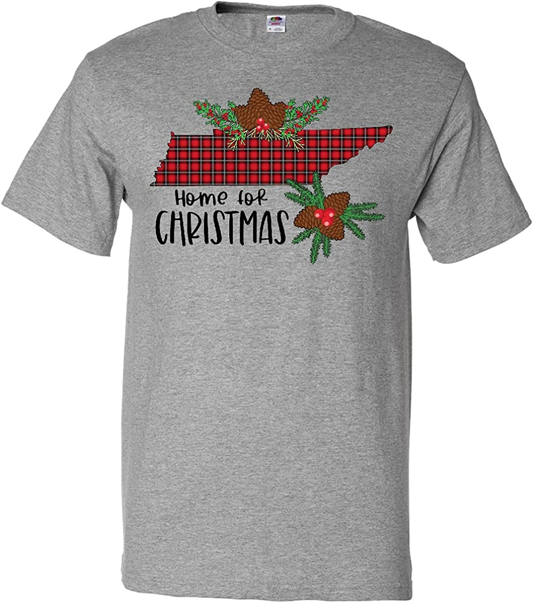 inktastic Home for Christmas Tennessee in Plaid with Holly T-Shirt