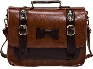 ECOSUSI Women Vintage Faux Leather Messenger Shoulder Satchel Weekender Fashion Bag, Brown