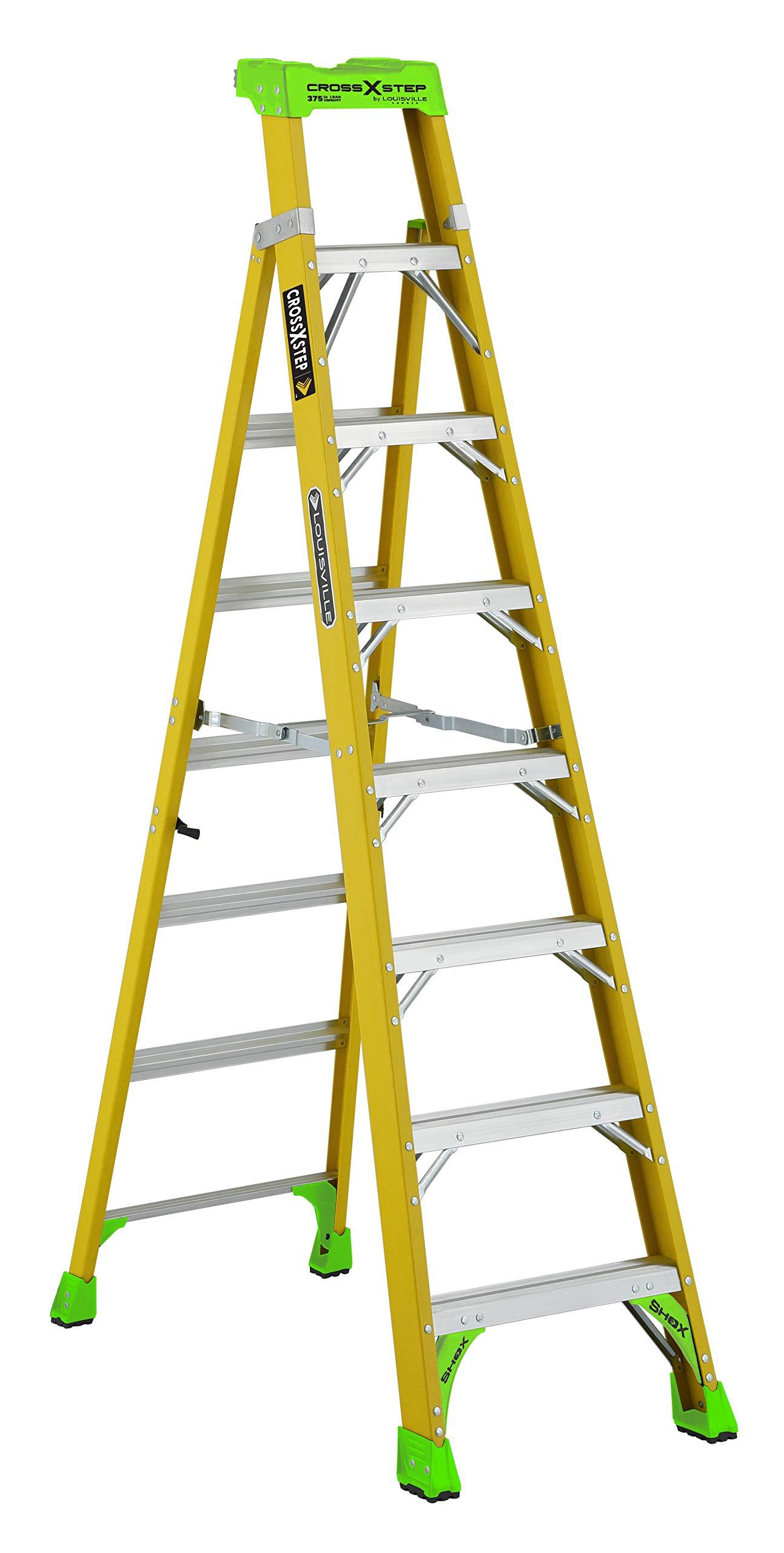 Louisville escalera fibra de vidrio Cruz de 375 LB tipo Academia paso escalera, color amarillo: Amazon.es: Bricolaje y herramientas