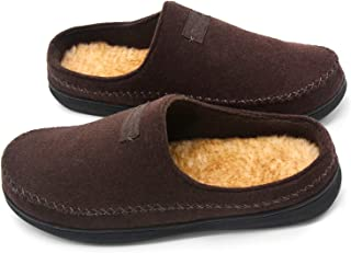 Zigzagger Men's Faux Wool WesternStyle Memory Foam Indoor Outdoor Clog Moccasin Slip On House Slippers