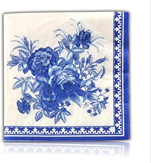 Blue Floral Decorative Paper Napkins, 2-Ply Cocktail Beverage Napkins For Wedding Birthday Dinner Lunch, 100 Count