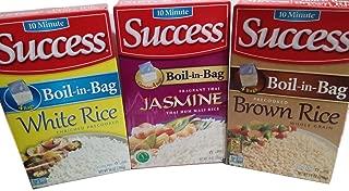 Success Rice, 10 Minute, Boil-In-Bag, Jasmine, Brown, White 4 Bags per Box (Pack of 3)