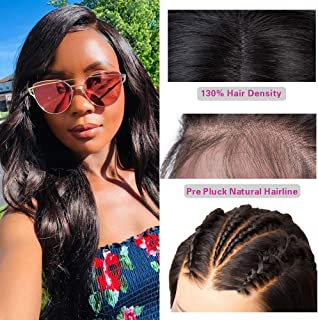Brazilian Body Wave Lace Front Wigs (18inch) 100% Unprocessed Virgin Human Hair 130% Density Body Wave Wigs with Baby Hair For Black Women Natural Color