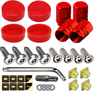 Anti Theft License Plate Screws-4Pcs Red Plastic License Plate Screw Caps Cover,Car Tag Screws, Plate Mounting Hardware M6X20mm Stainless Steel Locking Bolts Nuts, for Front Frame and Rear Holder