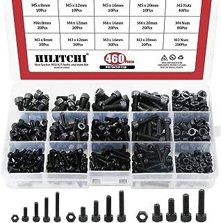 Hilitchi 460-Piece Alloy Steel Socket Cap Screws Hex Head Bolt Nuts Assortment Kit with Box, M3 M4 M5 Thread Size, Black Oxide Finish