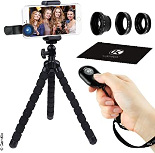 Juego de Fotografia Telefono Inteligente - Tripode Flexible para Telefono Celular Bluetooth Control Remoto Obturador de Camara y Juego de Lentes 3en1 - Pulpo - Ojo de Pez Macro y Gran Angular