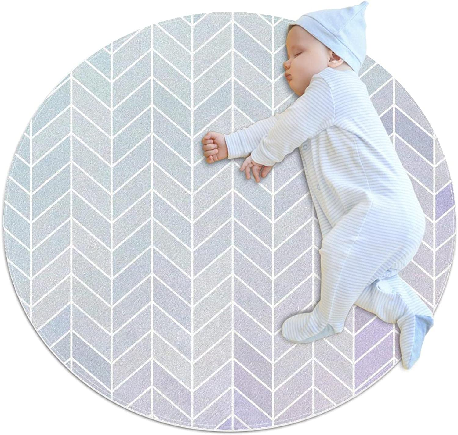 Picture of Rhombus Max 76% OFF White Round Kids Super intense SALE Polyester K Nursery Rug