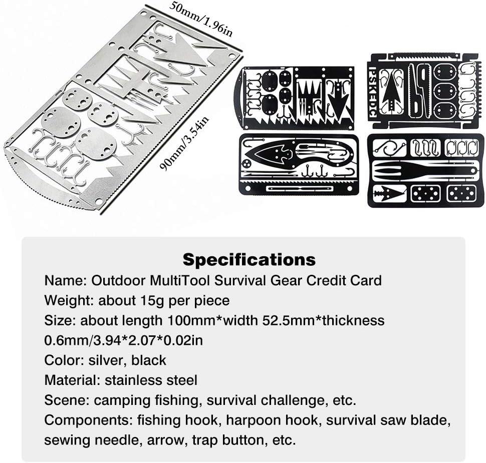 LifeBest Tarjeta Multiherramienta de Supervivencia para Camping y Desierto Supervivencia Pesca Camping Senderismo Caza Kit de Emergencia