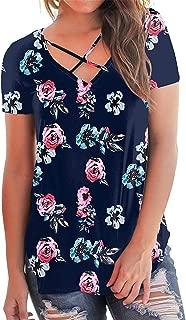 Women Criss Cross Tops Short Sleeve Summer Casual T Shirts