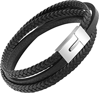 OSTAN Mens Genuine Leather Bracelet Stainless Steel Mens...