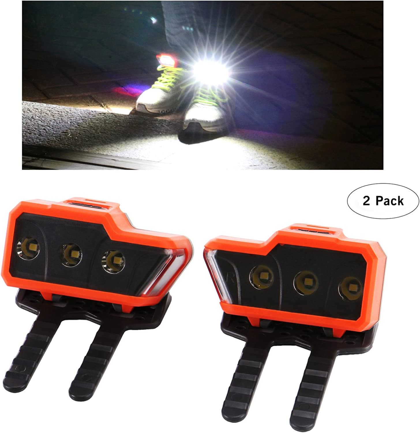 Greensyi LED Safety Lights (2pack) for Running shoes with Three Bright LEDs and One Side Warning Light Good for Night Running Walking Hiking Cycling.