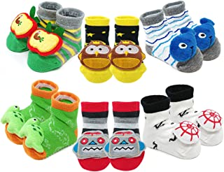 Adorable Newborn 6 Pair Non-Skid Bootie Socks