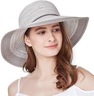 SOMALER Women Floppy Sun Hat Summer Wide Brim Beach Cap Packable Cotton  Straw Hat for Travel c64852e7a6bc