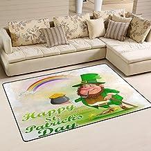 Doormat Leprechaun in Saint Patrick's Day 60x39 inch Welcome Holiday Floormat, Gold Coin Rainbow Outdoor Indoor Non Slip B...