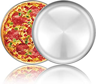 Pizza Baking Pan Pizza Tray - Deedro 12 inch Stainless Steel Pizza Pan Round Pizza Baking Sheet Oven Tray, Non-toxic & Healthy Bakeware for Oven Baking, 2 Pack