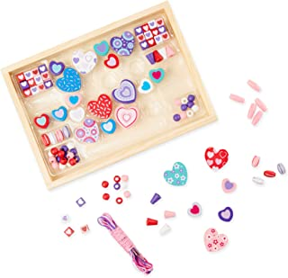 Melissa & Doug Created By Me! Heart Beads Wooden Bead Set (Jewelry-Making Kit, Over 120 Beads, 5 Cords, Great Gift for Girls and Boys – Best for 4, 5, 6, 7 and 8 Year Olds)