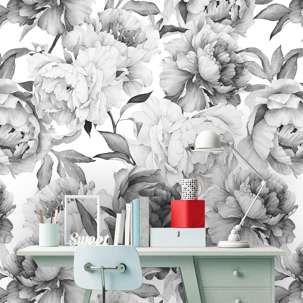 Flowers wall decor Removable Repositionable MAF079 Reusable Watercolor Bamboo removable wallpaper Floral wall mural Peel and stick