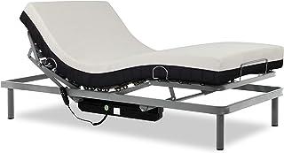 comprar comparacion Gerialife® Cama articulada con colchón viscoelástico 20 cm. (90x190, Plateado)