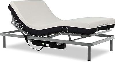 Gerialife® Cama articulada con colchón viscoelástico 20 cm. (90x190, Plateado)