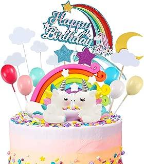 iZoeL 21pcs Unicorn Cake Topper Kit Cloud Rainbow Balloon Happy Birthday Banner Cake Decoration For Boy Girl Kid Birthday