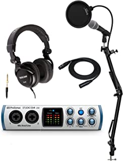 PreSonus Studio 24 2x2 USB-C Audio/MIDI Interface Bundle with Mic, Headphones, XLR Cable, Knox Studio Stand and Pop Filter