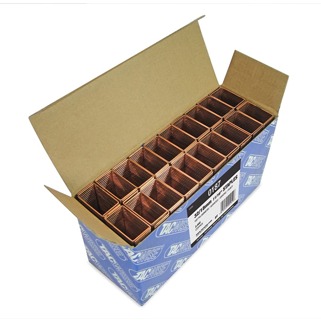 Tacwise 0187 32 x 18mm Wide Crown Copper Staples (Box 2000)