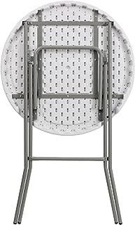 Flash Furniture 32'' Round Granite White Plastic Bar Height Folding Table 2 Pack