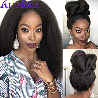 Ali Moda Brazilian 10A Pre-Plucked Yaki Kinky Straight Hair Lace Front Wigs 130% Density Lace Frontal Wigs Human Virgin Hair With Baby Hair 14 inch