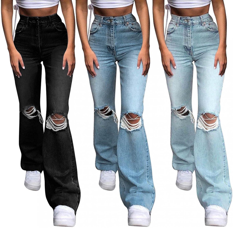 Lingbing Y2K Fashion Jeans, Women's Trousers High Waist Pants E-Girl Patchwork Baggy Pants Denim Jeans Casual Streetwear