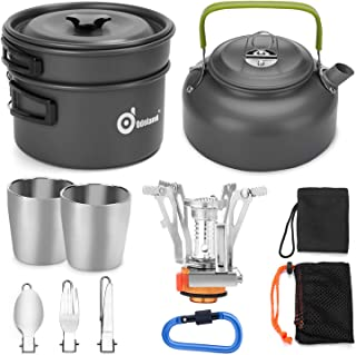 Odoland 12pcs Camping Cookware Mess Kit with Mini Stove,...