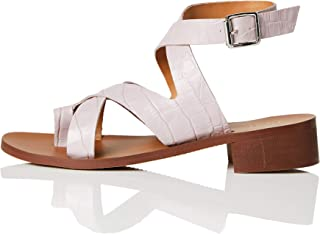 Marchio Amazon - FIND Crossover Block Heel Leather Sandali a Punta Aperta, Viola (Lilac Croc), 41 EU