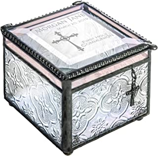 J Devlin Box 631 EB 220 First Holy Communion Keepsake Box Engraved Glass Jewelry Box Trinket Rosary Case