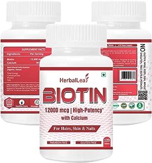 HerbalLeaf High Potency Biotin 12000mcg Maximum Strength for Hair Growth – 120 Veg Tablets