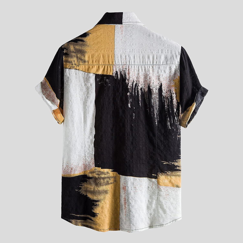 FUNEY Hawaiian Shirt for Mens Short Sleeve Casual Button Down Tie Dye Printed Regular-fit T-Shirts Tops Floral Dress Shirts