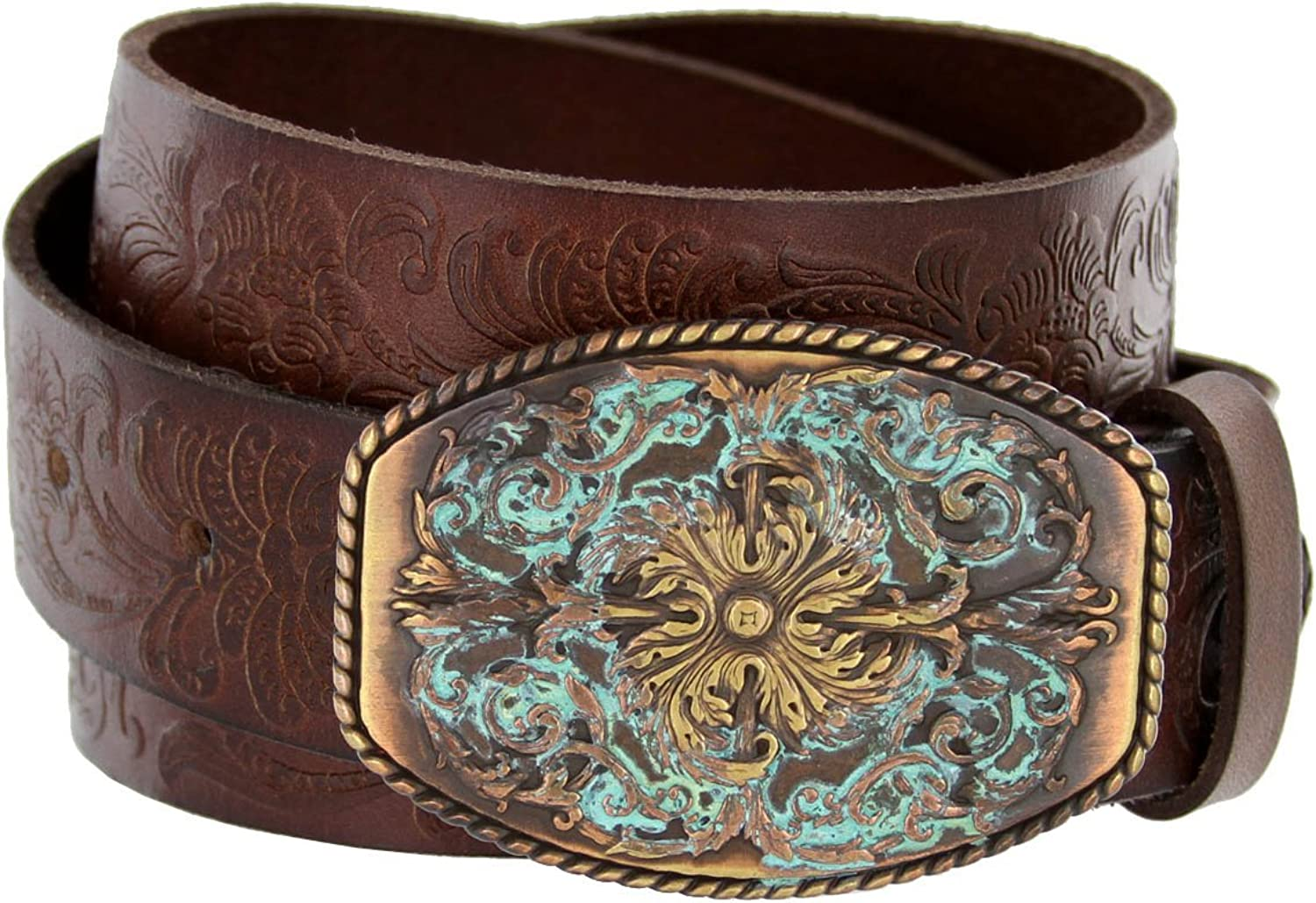 Women's Western Tooled Full Grain Leather Jean Belt Black Brown 1.5  Wide