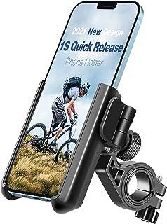 【2021 1S Quick Release】 Tiakia Bike Motorcycle Phone Holder, Universal Phone Mount for Bicycle Anti Shake, 360° Rotation &...
