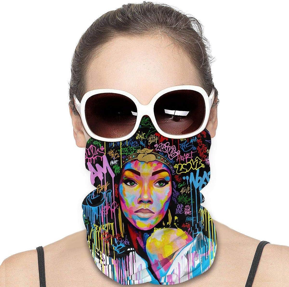 JinSPef Bandana Face Mask - African American Women with Afro Urban Graffiti Bandana Face Mask Ski Mask Multifunctional Headwear Head Bands Neck Gaiters for Men Headband Sun Mask