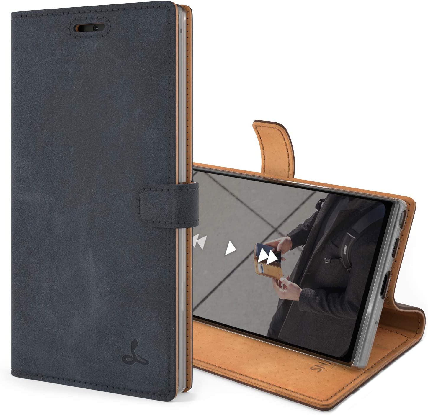 Snakehive Vintage Wallet for Samsung Galaxy Note 10    Real Leather Wallet Phone Case    Genuine Leather with Viewing Stand & 3 Card Holder    Flip Folio Cover with Card Slot (Navy)
