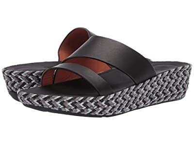 FitFlop Asya Slide (Black/Jute/Black) Women