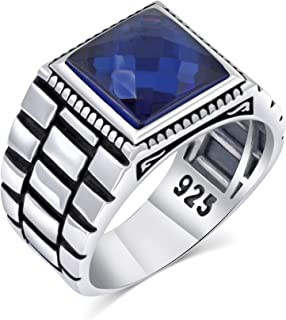 خاتم فضة رجالي بحجر زركون مكعب 925 فضة استرلينية تركية مصنوعة يدويًا مجوهرات للرجال من تشيمودا