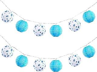 Frienda 2 Pieces Hanukkah Mini Lantern String Lights 3 Inch Mini Round Lantern String Lights Hanukkah Ball Lanterns Lights...