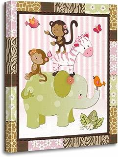 TORASS Canvas Wall Art Print Pink Room Jungle Jill Animals Baby Nursery Themes Artwork for Home Decor 12