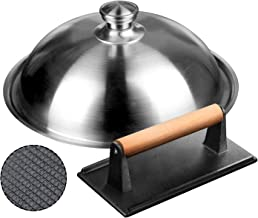 HOMENOTE Griddle Accessories Kit - 12 Inch Heavy Duty Round Basting Cover Cheese Melting Dome with Cast Iron Burger Bacon Press - Perfect for Flat Top Griddle Grill Cooking Indoor or Outdoor