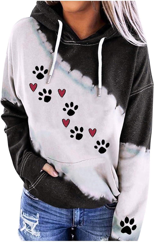 Dog Mom Hoodies Women's Pullover Hoodie with Pocketssunflower Leopard Dog Paw Print Hooed Sweatshirt