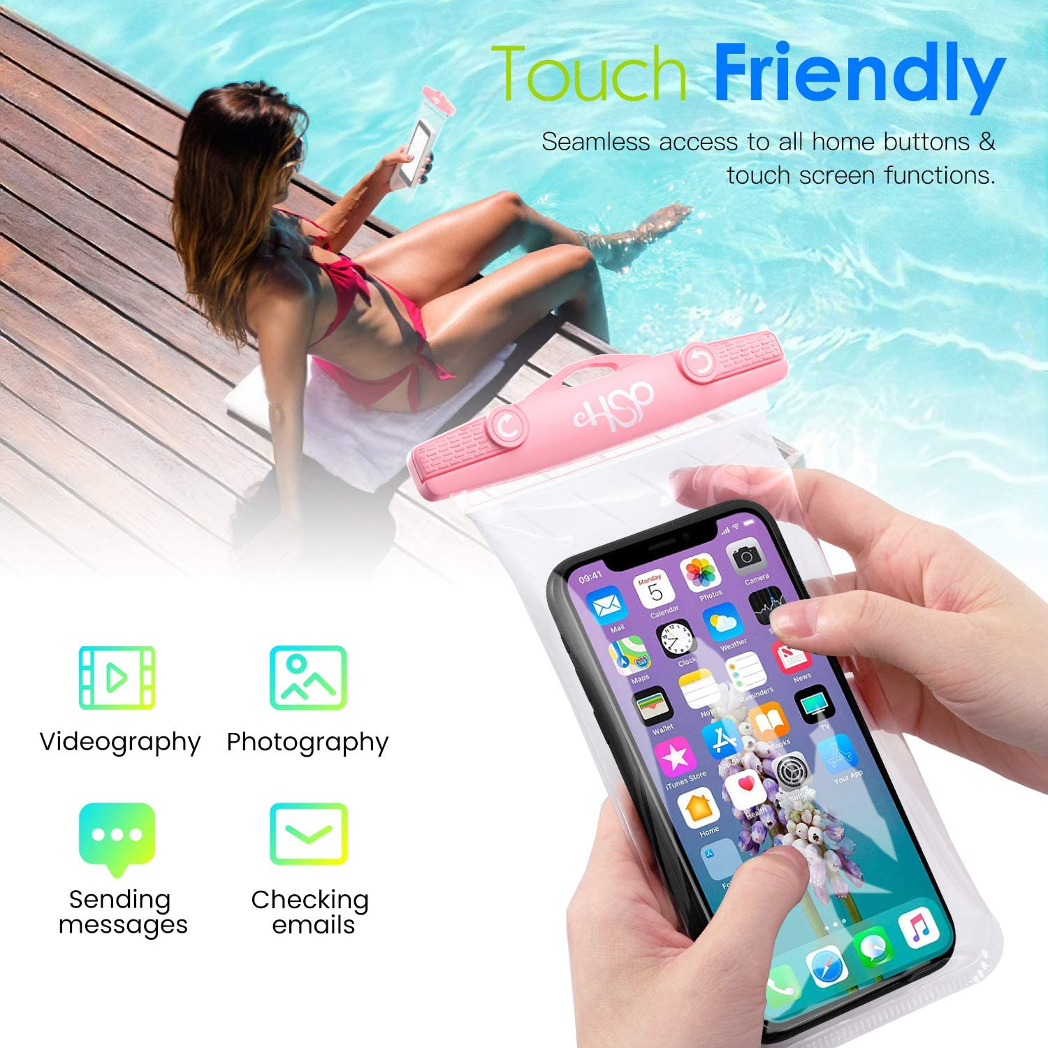 HeySplash IPX8 Waterproof Phone Pouch, 2-Pack Underwater Clear Cellphone Case Dry Bag with Lanyard for Beach SUP or Bathing, Compatible with New iPhone SE 2020 iPhone 11/11 Pro/11 Pro Max/X/Xs/Xs Max